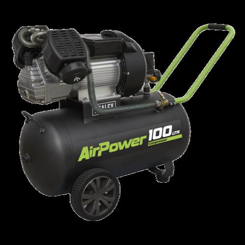 Compressor 100ltr V-Twin Direct Drive 3hp - Sealey - SAC10030VE