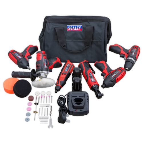 CP1200 Series 6 x 12V Cordless Power Tool Combo Kit - Sealey - CP1200COMBO2