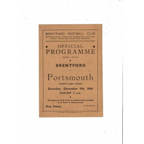 1944/45 Brentford v Portsmouth Football Programme