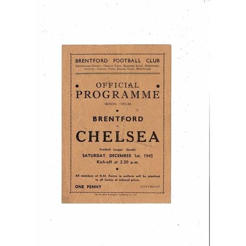 1945/46 Brentford v Chelsea Football Programme