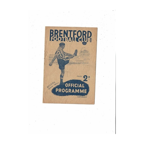 1946/47 Brentford v Portsmouth Football Programme