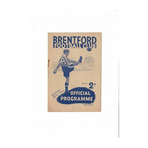 1946/47 Brentford v Preston Football Programme