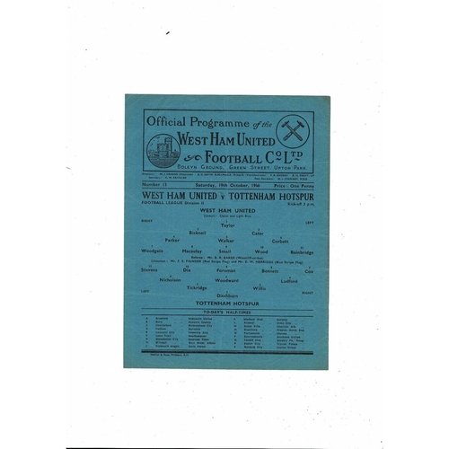 1946/47 West Ham United v Tottenham Hotspur Football Programme
