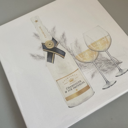 Champagne and glasses glitter canvas