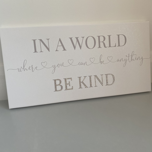 Be Kind glitter and crystal canvas