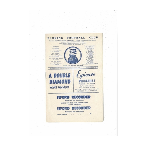 1960/61 Barking v Bedford Town East Anglian Cup Football Programme