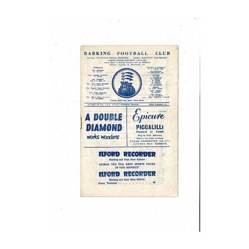 1960/61 Barking v Dulwich Hamlet Football Programme