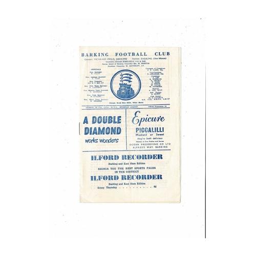 1960/61 Barking v Ilford Football Programme