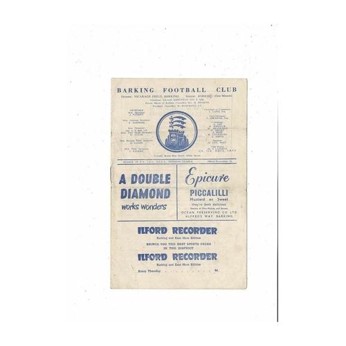1960/61 Barking v Kingstonian Football Programme