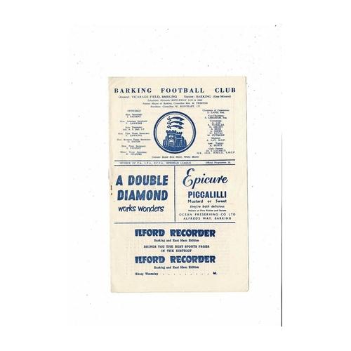 1960/61 Barking v Rainham Town Essex Trophy Football Programme