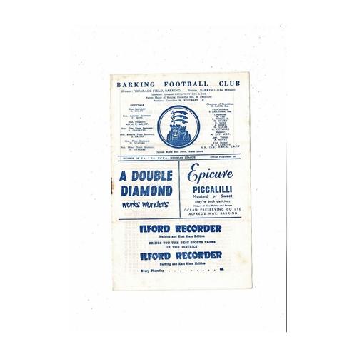 1960/61 Barking v St Albans City Football Programme
