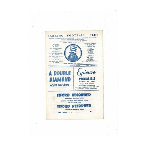 1960/61 Barking v Woking Football Programme