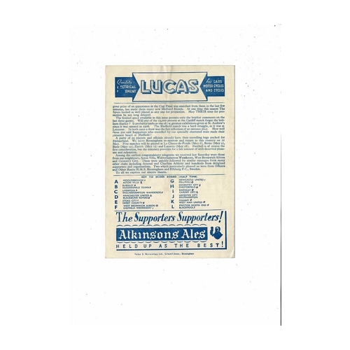 1947/48 Birmingham City v Tottenham Hotspur Football Programme + Picture