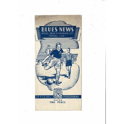1948/49 Birmingham City v Middlesbrough Football Programme