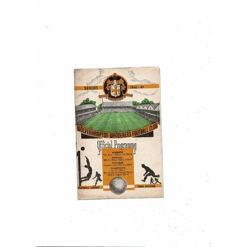 1948/49 Wolves v Birmingham City Football Programme