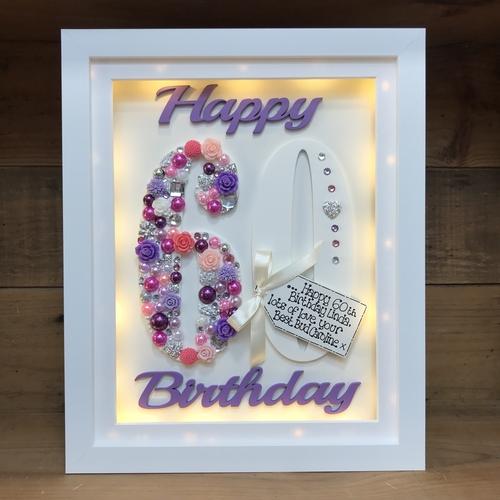 LED Happy 60 th birthday frame