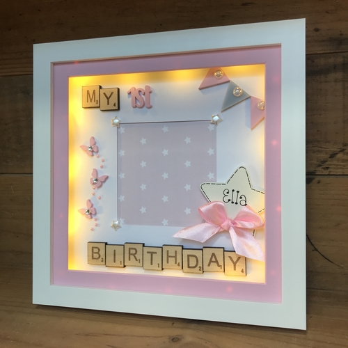 LED my 1st birthday Butterflies frame