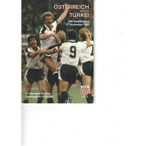 Austria v Turkey Football Programme 1982