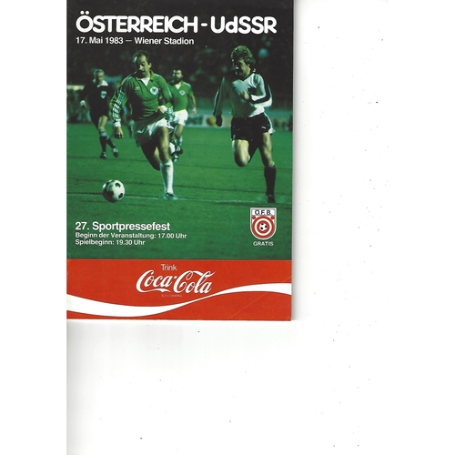 Austria v Soviet Union Football Programme 1983