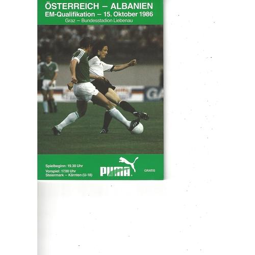 Austria v Albania Football Programme 1986