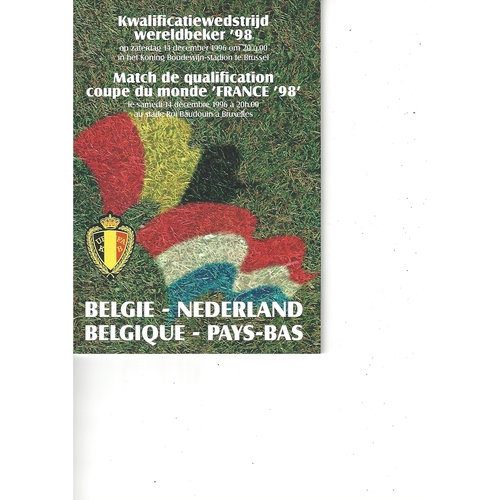 Belgium v Holland Football Programme 1996