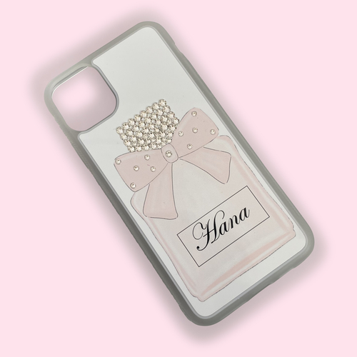 Pretty Bow Pink Perfume Bottle Personalised Phone Case