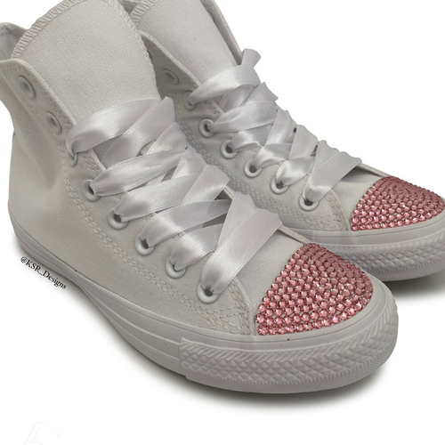 White Hi Top Converse With Pink Crystals