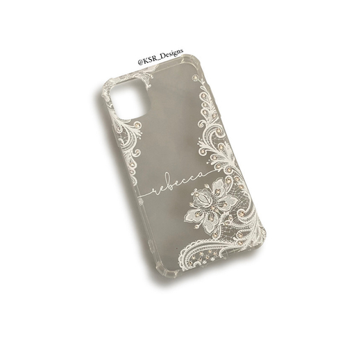 Clear Lace Personalised Phone Case