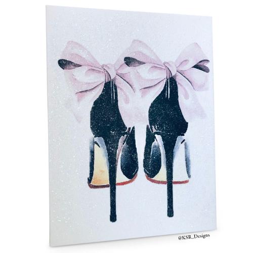 Glitter Pink & Black Bow Heels Canvas