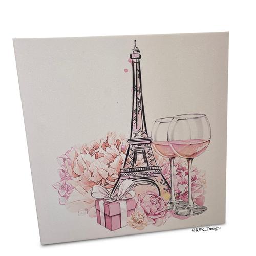 Glitter Floral Paris Canvas