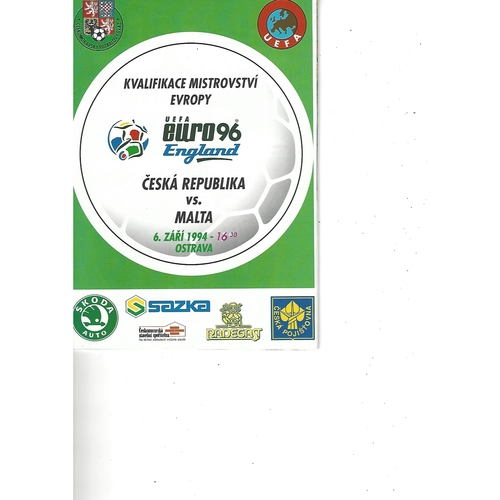 Czech Republic v Malta Football Programme 1994