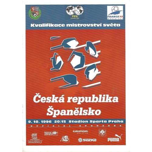 Czech Republic v Spain Football Programme 1996