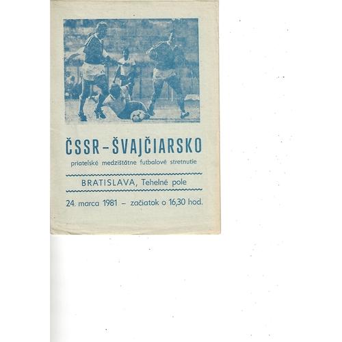 Czechoslovakia v Switzerland Football Programme 1981
