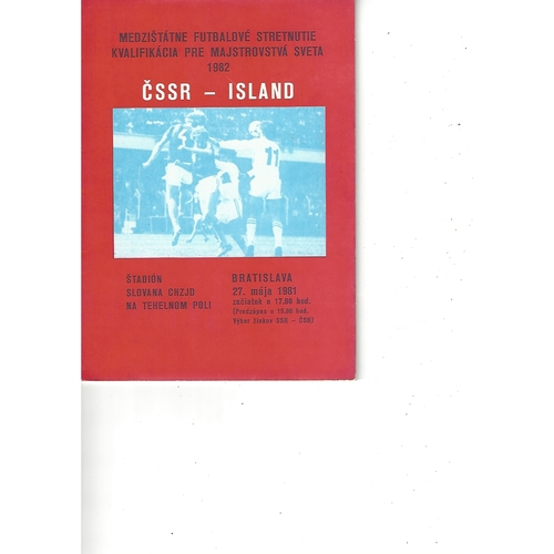 Czechoslovakia v Iceland Football Programme 1981