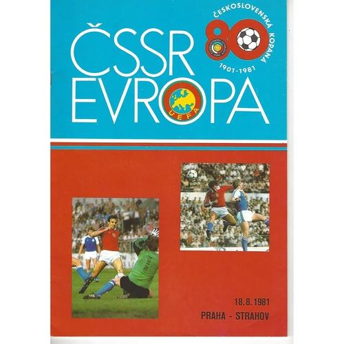 Czechoslovakia v Europe Football Programme 1981 + Team Sheet