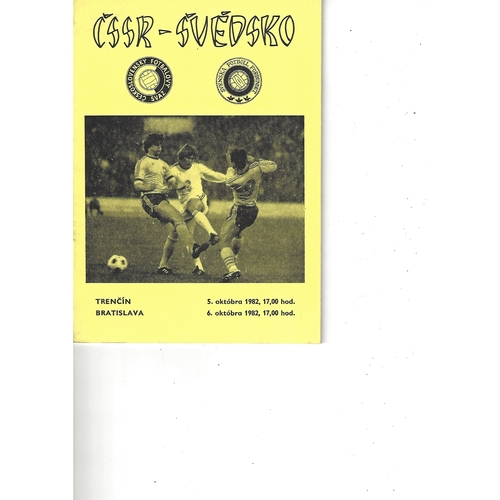 Czechoslovakia v Sweden Football Programme 1982