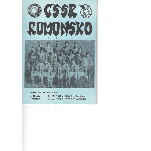 Czechoslovakia v Romania Football Programme 1983