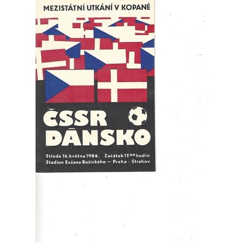Czechoslovakia v Denmark Football Programme 1984