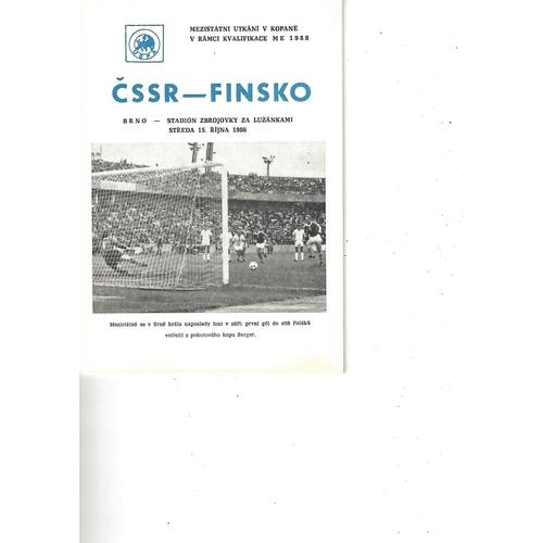 Czechoslovakia v Finland Football Programme 1986