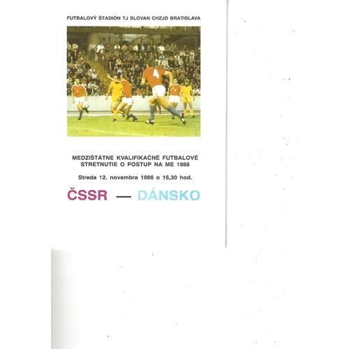 Czechoslovakia v Denmark Football Programme 1986