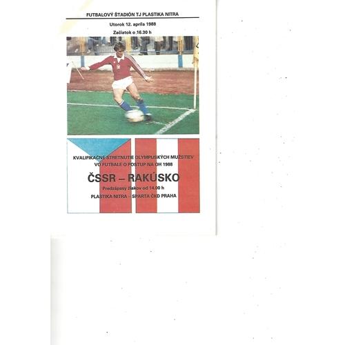 Czechoslovakia v Austria Football Programme 1988