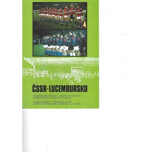 Czechoslovakia v Luxembourg Football Programme 1989