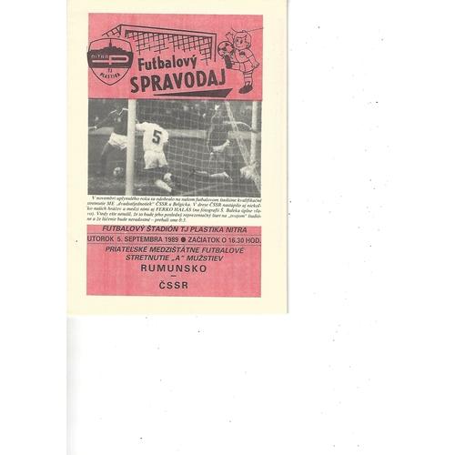 Czechoslovakia v Romania Football Programme 1989