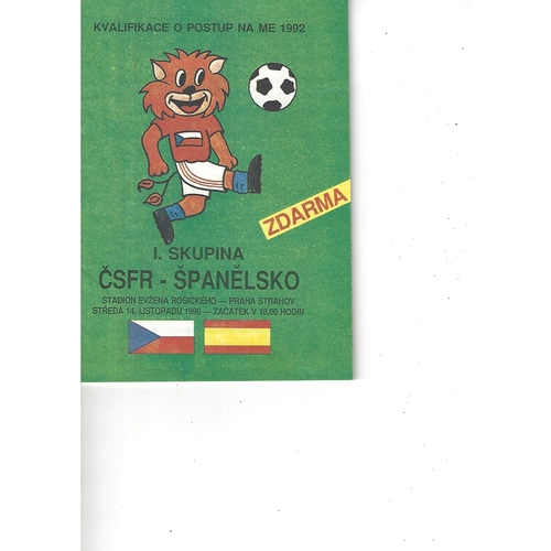 Czechoslovakia v Spain Football Programme 1990