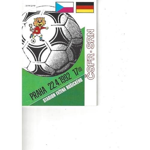 Czechoslovakia v Germany Football Programme 1992