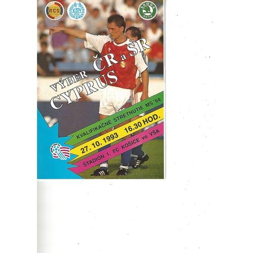 Czechoslovakia v Cyprus Football Programme 1993