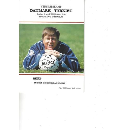 Denmark v Turkey Football Programme 1990