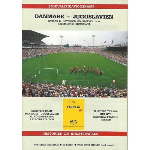Denmark v Yugoslavia Football Programme 1990