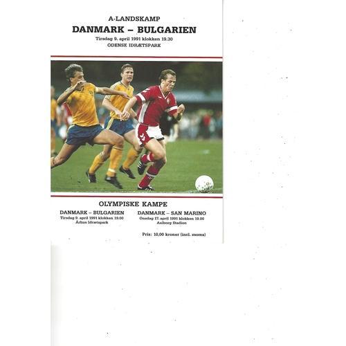 Denmark v Bulgaria Football Programme 1991