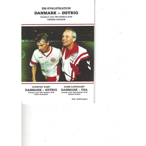 Denmark v Austria Football Programme 1991